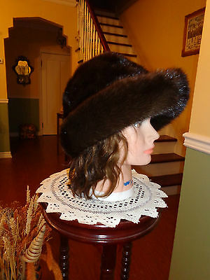 "22.5"" WONDERFULL DARK BROWN MINK FUR WOMEN`S REAL FUR HAT WITH BRIM  (HA73)"