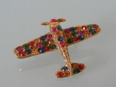 Gold Plated Assorted Rhinestone Vintage AIRPLANE Brooch Pin