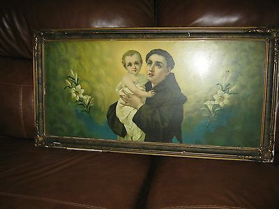 Antique Lithograph  -- St. Anthony & Baby Jesus.  Early 20th century/Victorian?