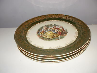 Vintage TST Taylor Smith Taylor Lot of 4 Dinner Plates Colonial couple Green