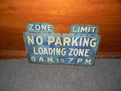 1930'S TIN SIGN ROAD STREET NO PARKING LETTER EMBOSSED LOADING ZONE ADVERTISING