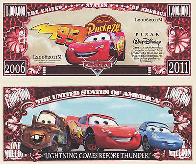 RARE: Cars, Mcqueen, Mater $1,000,000 Novelty Note, Movies Buy 5 Get one FREE