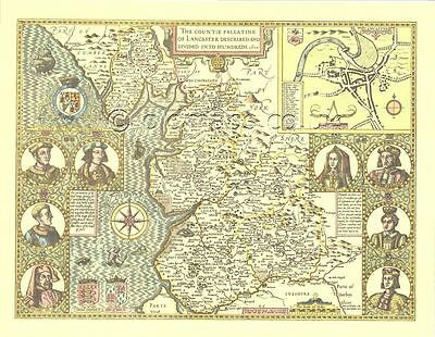 LANCASHIRE Lancaster FULL SIZE Copy of OLD 17c John Speed Map Great Gift Idea