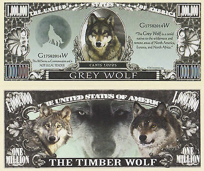 RARE: Grey Wolf $1,000,000 Novelty Note, Wild Animals Buy 5 Get one FREE