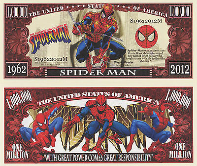 RARE: Spider Man $1,000,000 Novelty Note, Peter Parker, Buy 5 Get one FREE