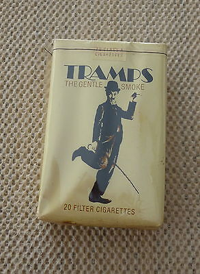 rare TRAMPS VINTAGE COLLECTIBLE CIGARETTE PACK - CHARLIE CHAPLIN IMAGE
