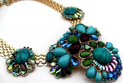 Quality Turquoise Bead Vintage Irregular Beads Floral Pendant Statement Necklace