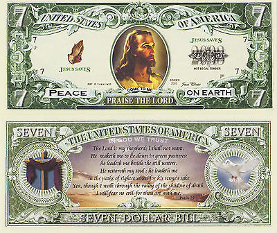 "RARE: Jesus ""Praise The Lord"" $7 Novelty Note, Religion Buy 5 Get one FREE"