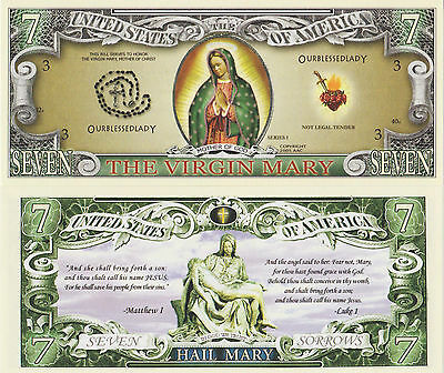 RARE: The Virgin Mary $7 Novelty Note, Religion Buy 5 Get one FREE
