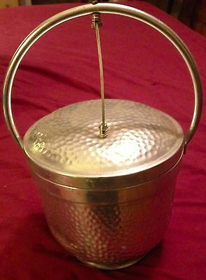 Vintage Aluminum Hammered Hinged Ice Bucket  Made in Italy SB-501