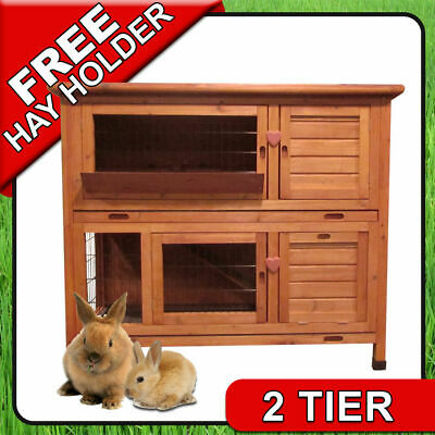 4Ft Large Double Rabbit Hutch / Deluxe Pet Hutches / Cage Pets / Guinea Pig Run