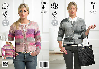 King Cole Womens Double Knitting Pattern Ladies Striped Cardigans Shine DK 3845