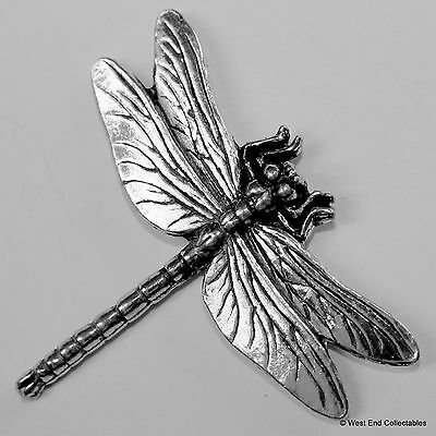 Dragonfly Pewter Brooch Pin - British Artisan Signed Badge - Damsel Fly Insect