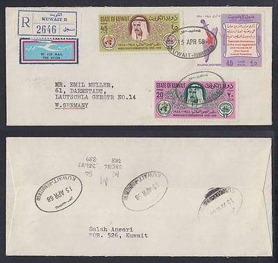 1968 Kuwait R-Cover to Germany, KUWAIT cds and R-Label [ca557]