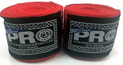 "MMA 180"" HandWraps Red - Elastic Mexican Pro Boxing Adult"