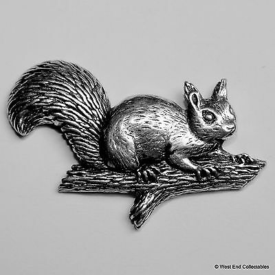 Red / Grey Squirrel on Branch Pewter Brooch Pin - British Artisan Signed Badge