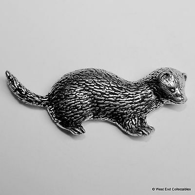 Ferret Pin Badge Brooch English Silver Pewter in gift pouch
