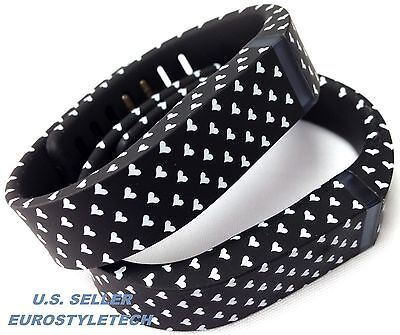 2pcs Small Black with White Hearts Band Metal Clasps For Fitbit Flex /No Tracker
