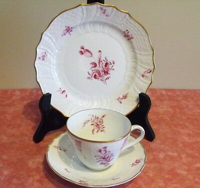 GERMAN HUTSCHENREUTHER  DRESDEN TEACUP-SAUCER-PLATE TRIO GERMANY PORCELAIN SUPER