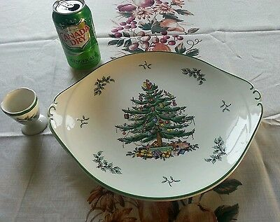 SPODE CHRISTMAS TREE OVAL PLATTER CAKE PLATE SERVING DISH & EGG CUP
