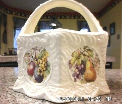 country white ceramic basket with handle