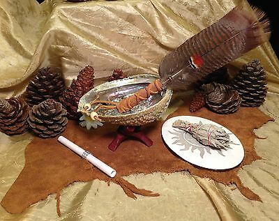 Abalone Shell California White Sage Smudge Stick & Feather Kit Shaman Smudging