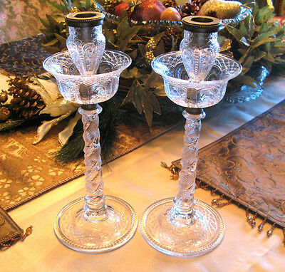 """Rare! Pair Of Pairpoint Etched Glass & Bronze Candlesticks 11.75""""t"""