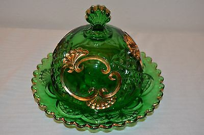 Emerald Green with gold-colored accents Croesus Domed Butter Dish