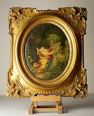 Vintage Gold Plaster Ornate Frame with Victorian Couple Embracing Each Other