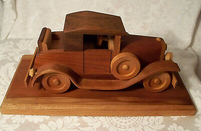 1932 Brewster Coachworks Chevrolet Handcrafted Wooden Car Automobile w/stand