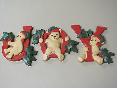 HOMCO Home Interior Vintage Antique JOY Letters Bears Wall Christmas Holiday