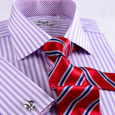 MENS PURPLE FORMAL Business Dress Shirt Herringbone Twill