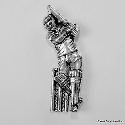 Cricketer Pewter Pin Brooch - British Hand Crafted - Cricket Gift Present