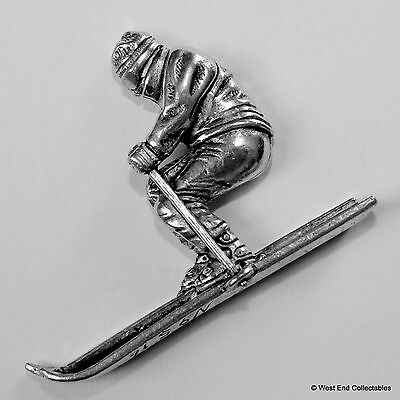 Downhill Skier Pewter Pin Brooch -British Hand Crafted- Skiing Snow Winter Sport
