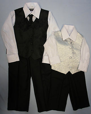 Baby Childrens Four Piece Suit Set Black Silver Page Boys Christening Waistcoat
