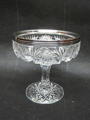 Antique ABP Cut Glass Compote With Sterling Rim