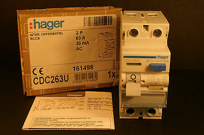 Hager CDC 263U 63A 30mA RCD RCCB 161498 - NEW - TESTED - Free Delivery