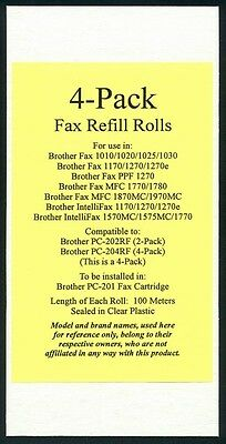4-pack Fax Film Refill Rolls for your Brother 1020 1020E 1020-PLUS Fax Cartridge