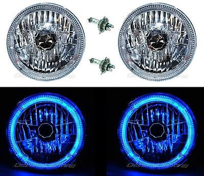 "7"" Halogen LED Blue Halo Angel Eyes Headlight Headlamp H4 Light Bulbs Pair"