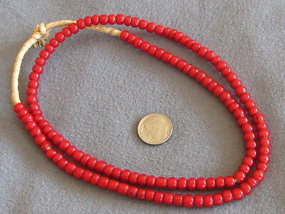 "22"" Str Vintage African Trade Beads, Red White Hearts 5-6mm"