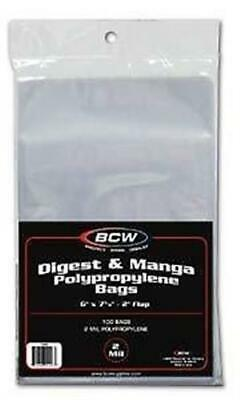 500 BCW Manga / Readers Digest 2 Mil Poly Bags 6 X 7 5/8 Archival Safe Acid Free
