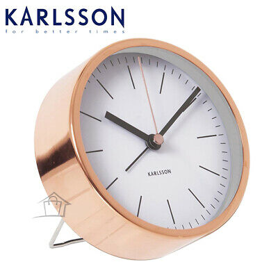 Karlsson Alarm Clock Watch with Copper Case Silent No Ticking Elegant Bedside