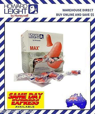 Box of 200 Howard Leight Max UNCORDED 33dB Earplug Disposable Hearing Protection