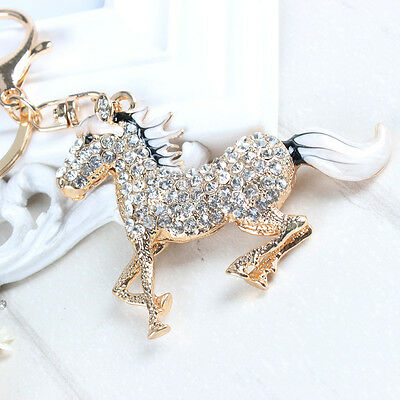 White Tail Horse Charm Pendent Rhinestone Crystal Purse Bag Key Chain Lovely Gif