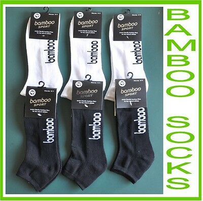 New Mens Bamboo Ankle Sport Socks 6 Pair Size 6-11 and 11-14 Black & White