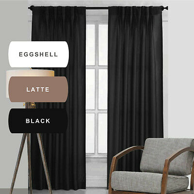 QUICKFIT: BOND PINCH PLEAT BLOCKOUT CURTAINS ENVIRO BLACKOUT white black latte