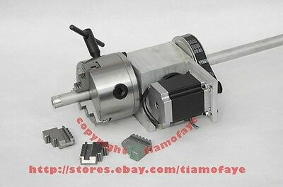 Hollow Shaft CNC Router Rotary Axis, 4th Axis, A axis for cnc router 100mm chuck