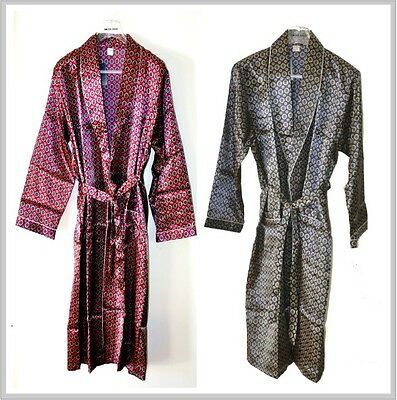 New Mens Silk blend Satin Bath Robe and Dressing Gown Navy & Burgundy Colour