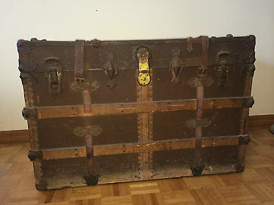 ANTIQUE 1800'S FLAT TOP RUSTIC WOOD WOODEN STEAMER TRUNK TRUNKS