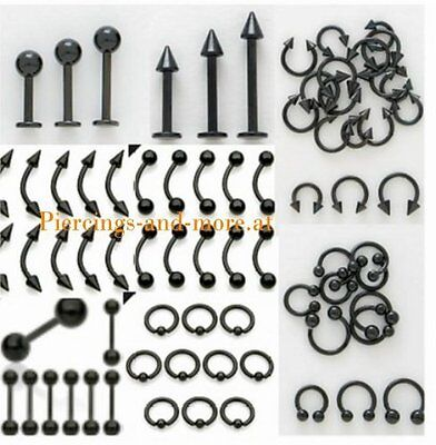 80 Stück PIERCING LOT  TITAN BLACK LINE SUPERMIX 1,2 - 1,6mm D / alle Längen